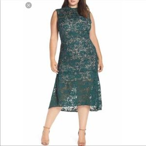Lace emerald green with nude lining midi dress